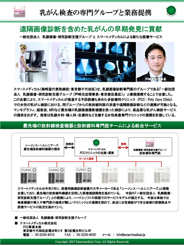 BIG-READSと「スマートメディカル」が提携~遠隔画像診断を含めた乳がんの早期発見に貢献~